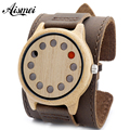 Punk style Mens Watches Top Brand Luxury Antique Bamboo Wooden 12 Holes Quartz Watches With big Real Leather Straps