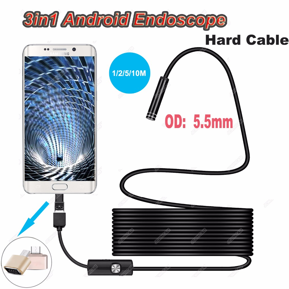 Type-c Endoscopy Android USB 5.5mm Hard Cable Camera Inspection Camera PC Android Phone Borescope Pipe Camera Endoscope 1M 3M 5M