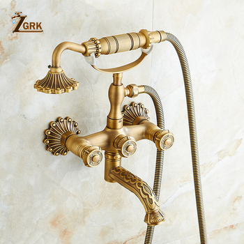 ZGRK Shower System Bathroom Faucet Hand Shower Set Brass Mixer Taps Top Spray Rainfall Shower Head Washing Faucets Antique shower faucets bathroom cabin showerhead top spray raining faucet brass shower sets gold home decoration the mixer crane oyd008r