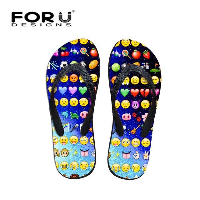 d5026ced9059f FORUDESIGNS Funny Emoji Print Flip Flops Summer Soft Sandals Slippers Men  Casual Beach Shoes Boys Male