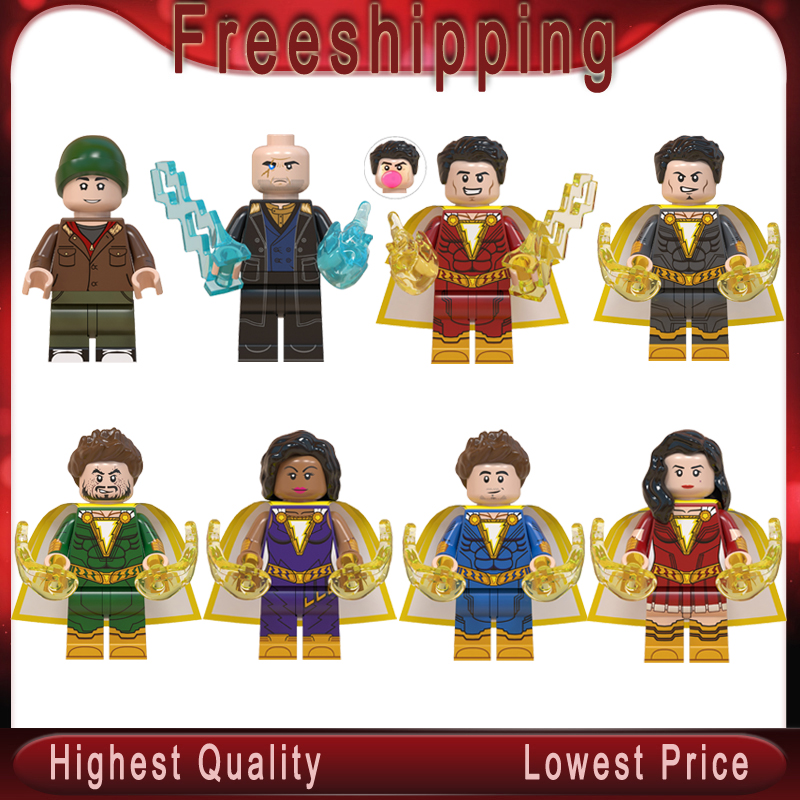 DC Super Hero Shazam Billy Batson Darla Dudley Sivana Freddy Mary Marvel Pedro Eugene Choi Building  Blocks Toys WM6058