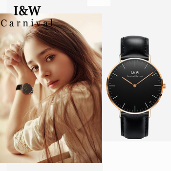 I&W T25 Tritium Watch Women Carnival Ultra Thin Ladies Watches Girlfriend Gift Quartz Wristwatch Luxury Clock relogio feminino