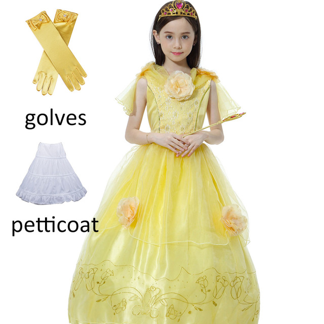 0e5017eb5f9a16 Kerst Schoonheid en Beest Prinses Belle jurk Meisjes kids geel lange jurk  Kinderen Baljurk bloem jurk