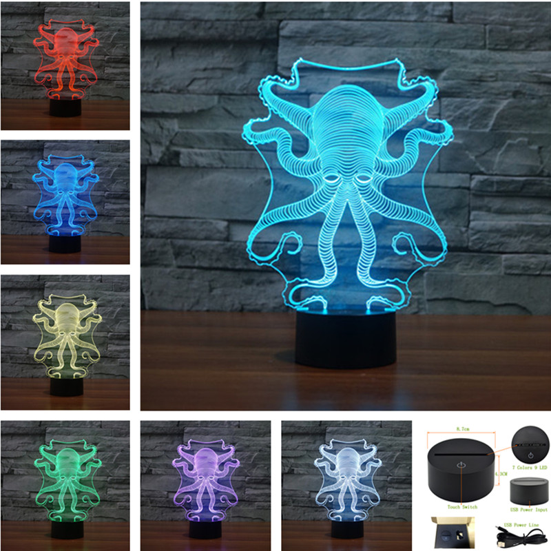 AUCD USB Remote Acrylic Watch 7 Color Octopus Night Light Bedroom Office LED Table Lamp Child Christmas Gift 3D-TD158 lan mu led ceiling lamp octopus light