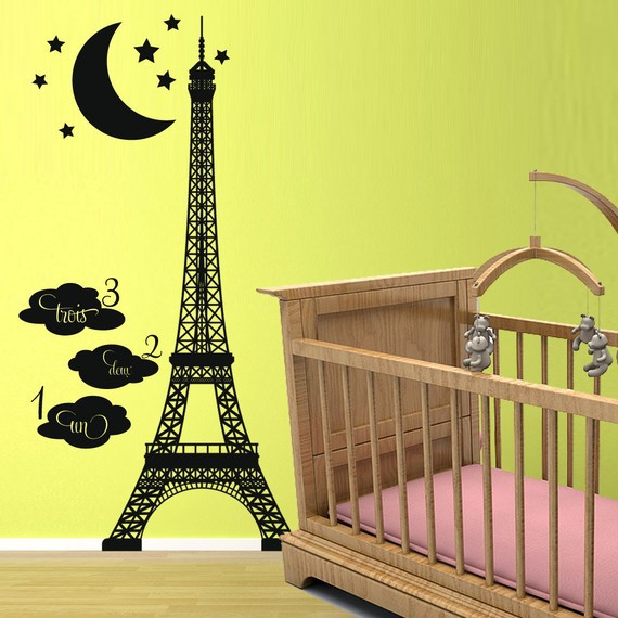 Mm071608 Hot Sell Home Decoration Paris Eiffel Tower Removable Decal Room Wall Sticker Home Decor Free