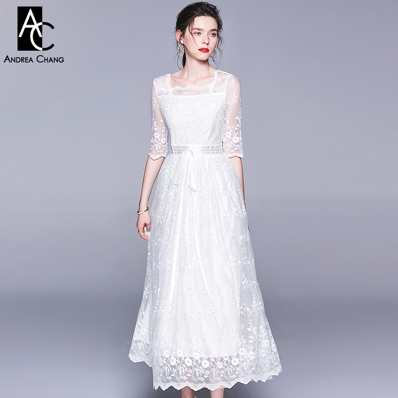 S XL spring summer woman dress flower pattern embroidery white lace dress ball gown with sash ankle length sweet maxi dress prom