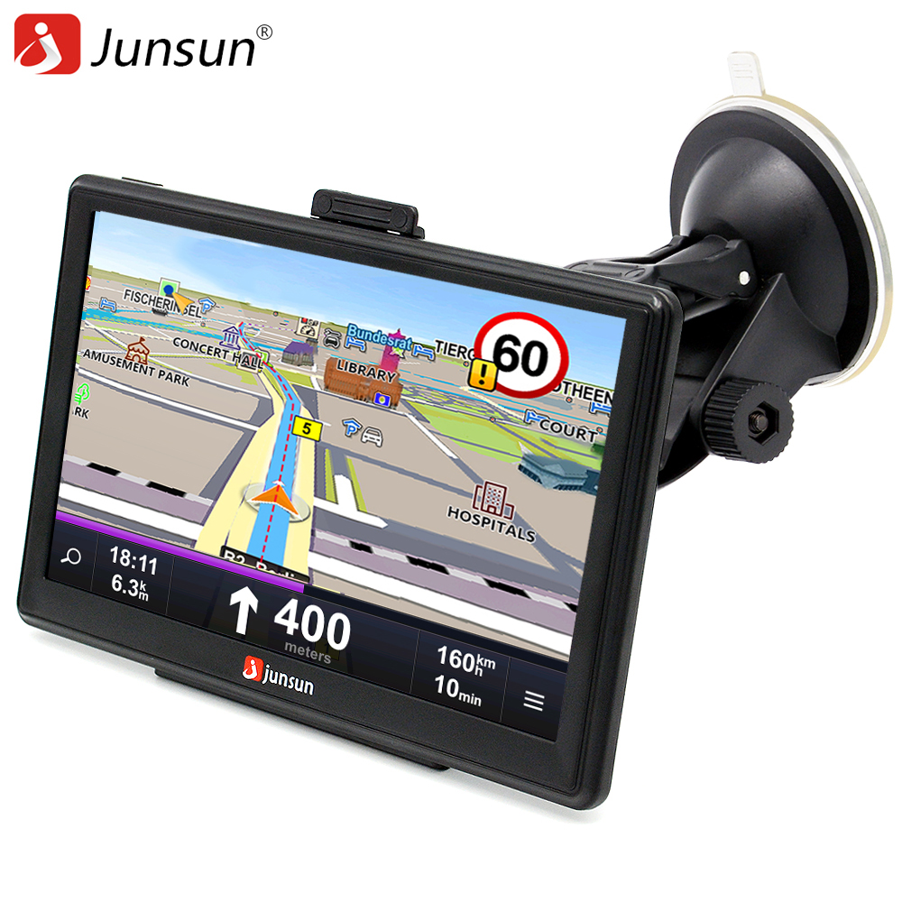 Junsun 7 inch Car GPS Navigation FM MP3/MP4 Players North America Map Free Upgrade Truck gps navigators Sat nav automobile beling g710a car gps navigation with av in 7 in touch screen wince 6 0 8gb vehicle navigator fm sat map mp4 sat nav automobiles