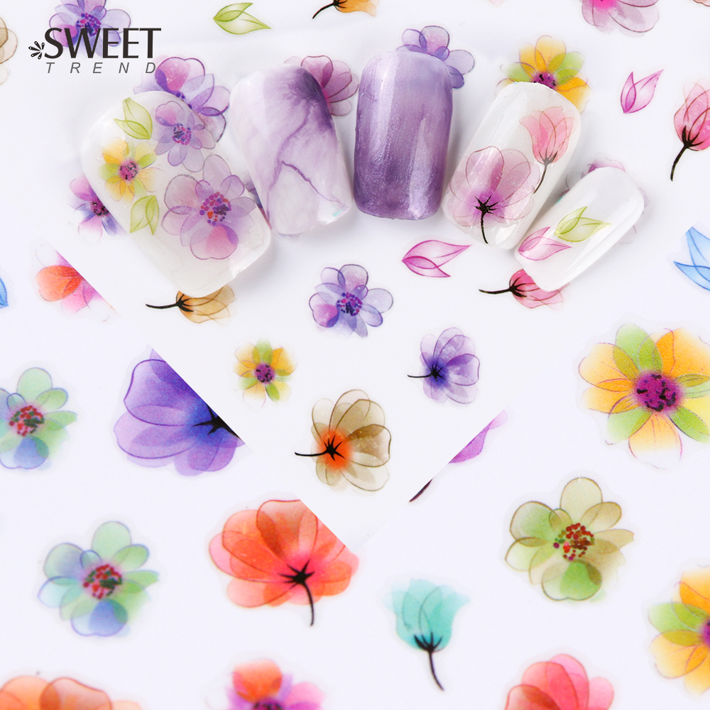 1Sheet Gradient Flower Series 3d Nail Stickers Decals Floral Cartoon Adhesive Manicure Stickers Charm Nail Art Decoration LAF/CA