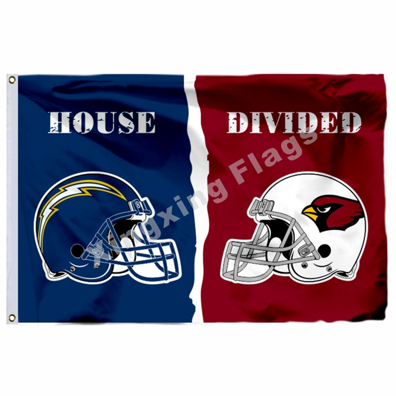 San Diego Chargers Arizona Cardinals Helmet House Divided Flag 3ft x 5ft Polyester NFL Banner Size No.4 144*96cm Custom flag