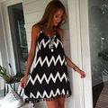 2016 New Wave Strips Black White Sleeveless A-line Beach Dress Spaghetti Strap Open Back Sexy Casual Summer Dresses Vestedos