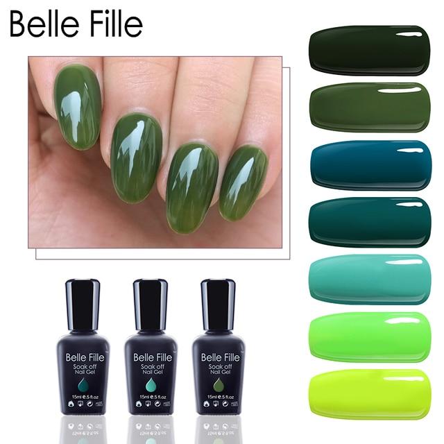 Belle Fille UV Gel Nail Polish Forest Green UV Soak Off Nails ...
