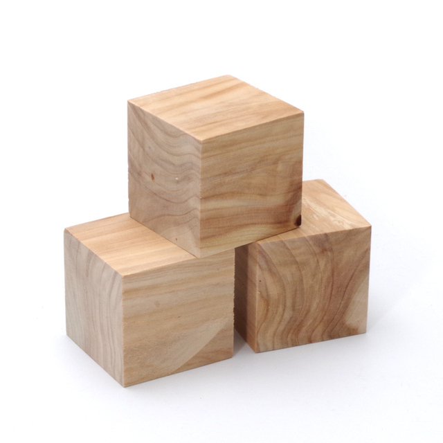 Buy 3pcs 5cm unfinished wooden block cube for Wooden blocks craft supplies