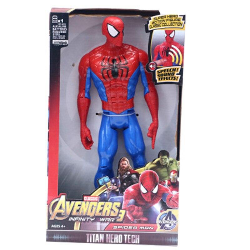 "Супергерои Marvel Мстители танос Черная пантера Капитан Америка Тор Железный человек антман халкбастер Халк фигурка 1"" 30 см - Цвет: Spider-man NO BOX"