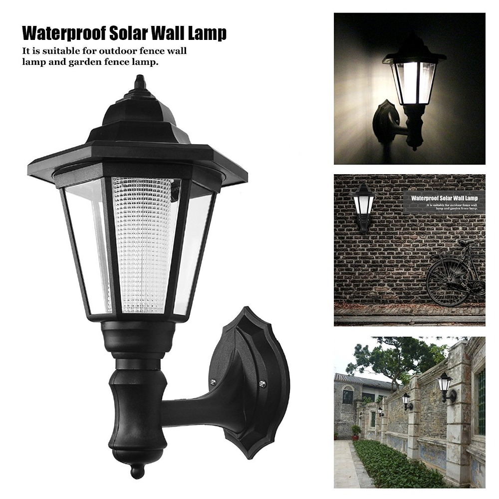 Outdoor LED Solar Powered Light Energy Saving Super Bright Yard Garden Decoration Path Street Fence Security Wall Hanging Lamp