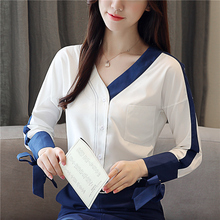 Sexy V neck Chiffon blouse bow tie long sleeve spring summer 2019 New blue and White women blouses shirt women tops blusas 930H7 fashionable boat neck tie chiffon blouse for women