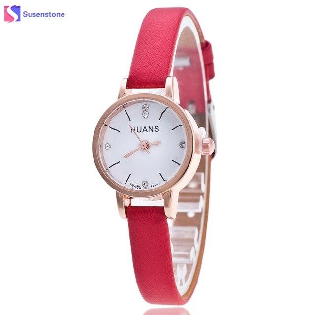 bf908b7e015 Relógio feminino Mulheres Pequeno Mostrador do Relógio de Moda Fina PU  Correia De Couro Strass Quartzo