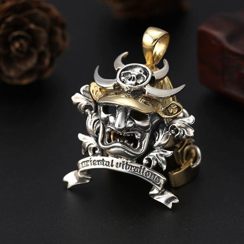 Brass Japanese Samurai Armor 925 Sterling Silver Face Mark Mens Pendant D299 (Necklace 24inch)