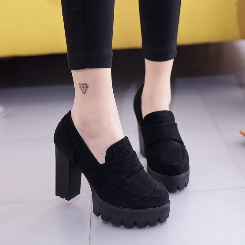 Women Pumps 10cm Suede High Heels Thick 2019 Round Head Waterproof Platform Black Single Shoes Female Thick Bottom Was Thin