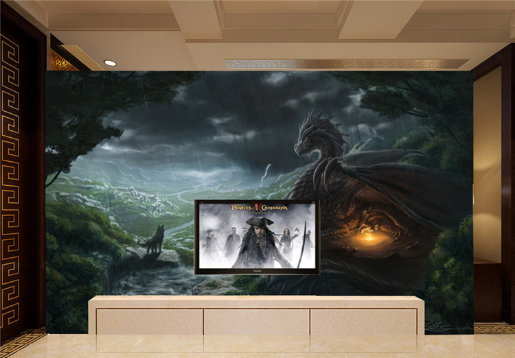 Aliexpress Dragon And Wolf Photo Wallpaper Custom Large Wild Style Mural Wall Painting Art Room Decor Bedroom Home Decoration From