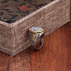 Image 5 - Новый дизайн, винтажное этническое античное мусульманское кольцо на палец с большой шириной из сплава серебряного цвета, мужское мусульманское кольцо, ювелирные изделия