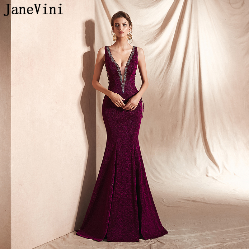 JaneVini Mermaid Glitter Sparkle Long Evening Dresses Sexy Deep V Neck Sleeveless Prom Party Formal Gowns Backless Robes Longues