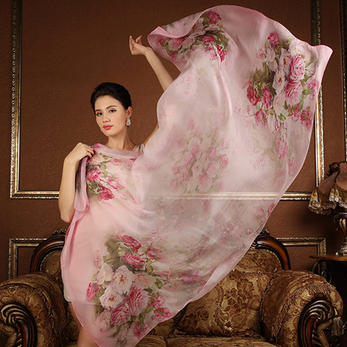 High quality 100% mulberry natural silk scarf  shawl hijab wrap women female long style spring summer Beach Cover-ups