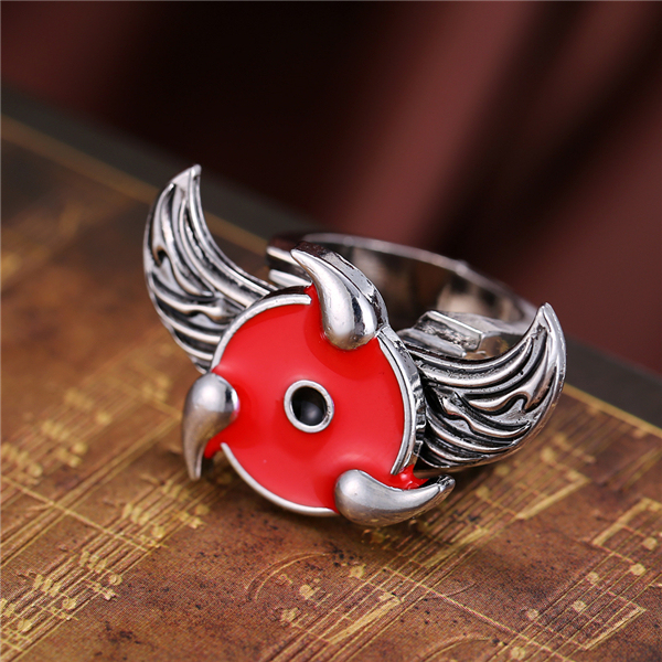 Naruto Sharingan Logo Rotatable Angel Wings Silver Plated Ring