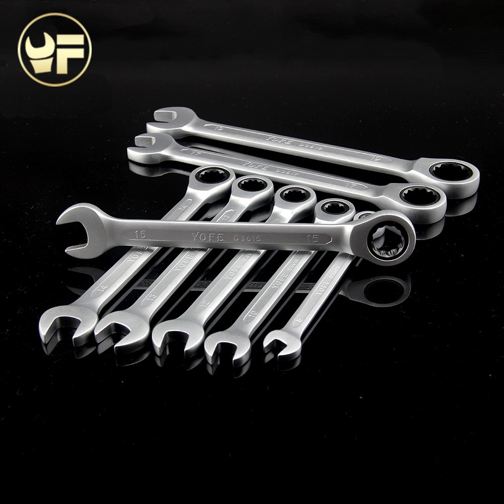 YOFE 8,10,12,13,14,15,17,19mm Ratchet Spanner Combination wrench a set of keys gear ring tool ratchet handle Chrome Vanadium ratchet