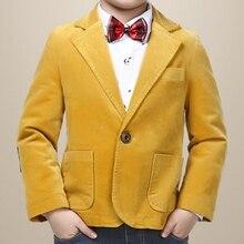 Haute qualité garçon blazer avec polaire tissu coton 80% solide jaune