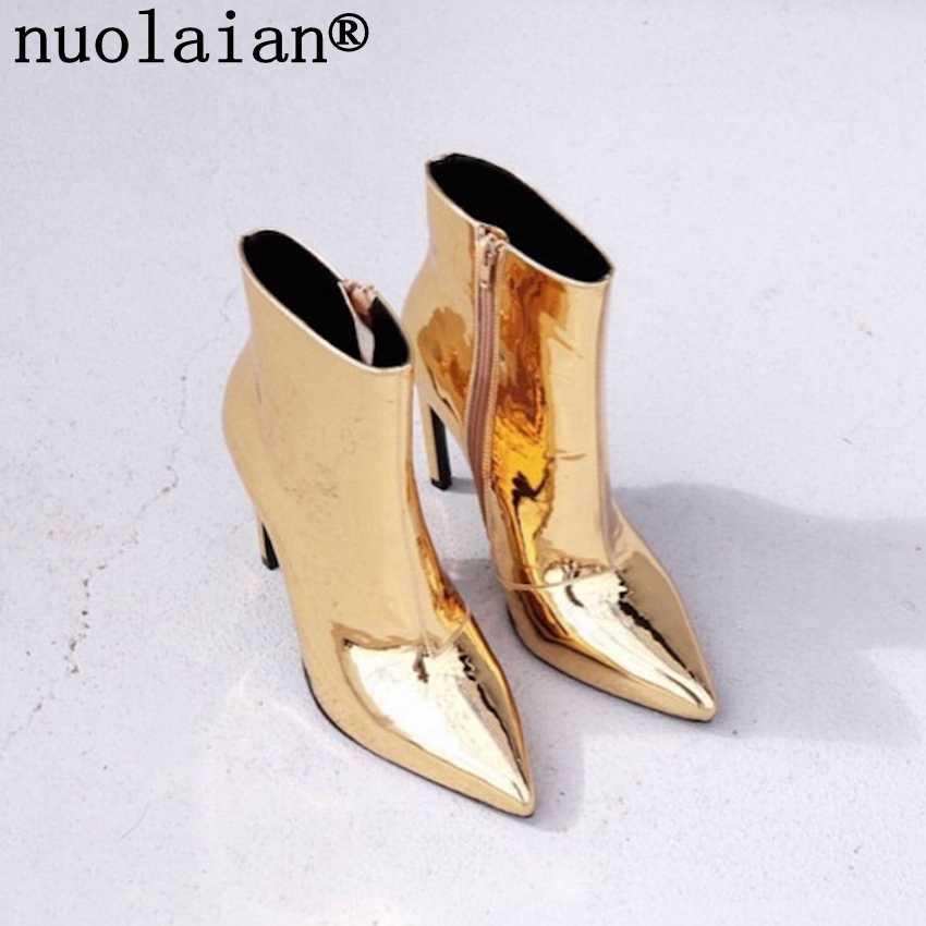 10.5 cm Dames Enkel Laarzen Vrouw Platform Hakken Laarzen Vrouwen Winter Botas Hoge Hak Laarzen Goud Zilver Lakleer Winter schoenen