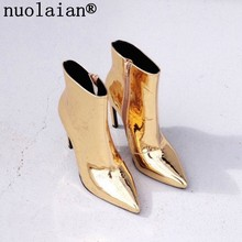 10.5CM Ladies Ankle Boots Woman Platform Heels Boots Women Winter Botas High Heel Boots Gold Silver Patent Leather Winter Shoes(China)