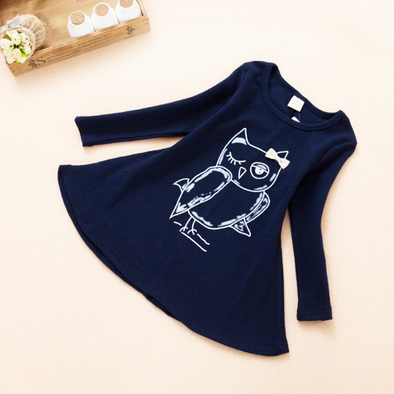 New-Spring-Dress-Fashion-Girl-Long-Sleeves-Cotton-Baby-Casual-Dress-Girls-Cartoon-Owl-Baby-Clothes-5