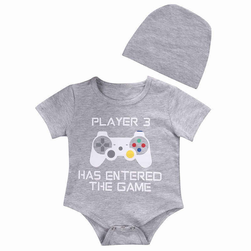 Newborn Baby Boy Girl Letter Printed Romper + Solid Color Hat Set Newborn Jumpsuit Clothes Outfits