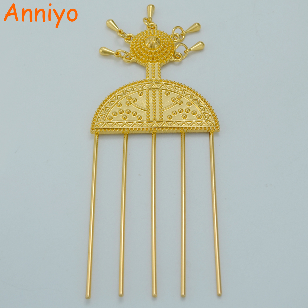 Anniyo Ethiopian Hairpin Jewelry Gold Color Ethiopia Hair Combs Africa Hair Pin/Eritrea/Kenya/Hair Sticks/Habasha #014806