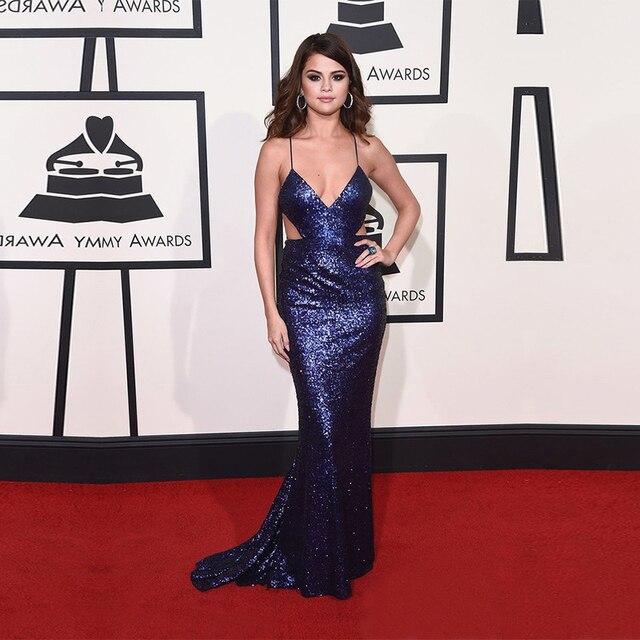 2016 Sexy Couture Selena Gomez Vestidos azul lantejoulas celebridades Vestidos com decote em V Side Cut barato partido Vestidos Vestidos De Festa