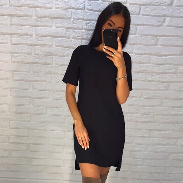 Summer Dress 2018 Women Casual O-Neck Loose Dress Green Black Blue Short Sleeve Beach Mini T Shirt Dresses Plus Size