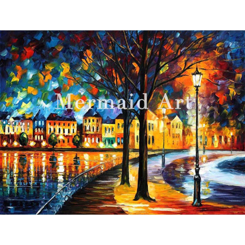 hand painted Palette knife thick Art Park By The River Modern Artwork of Landscape canvens Oil Painting Wall Decoration Fine Art
