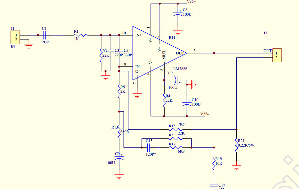 Lm3886 Stereo Amplifier Circuit - Circuit Diagram Images