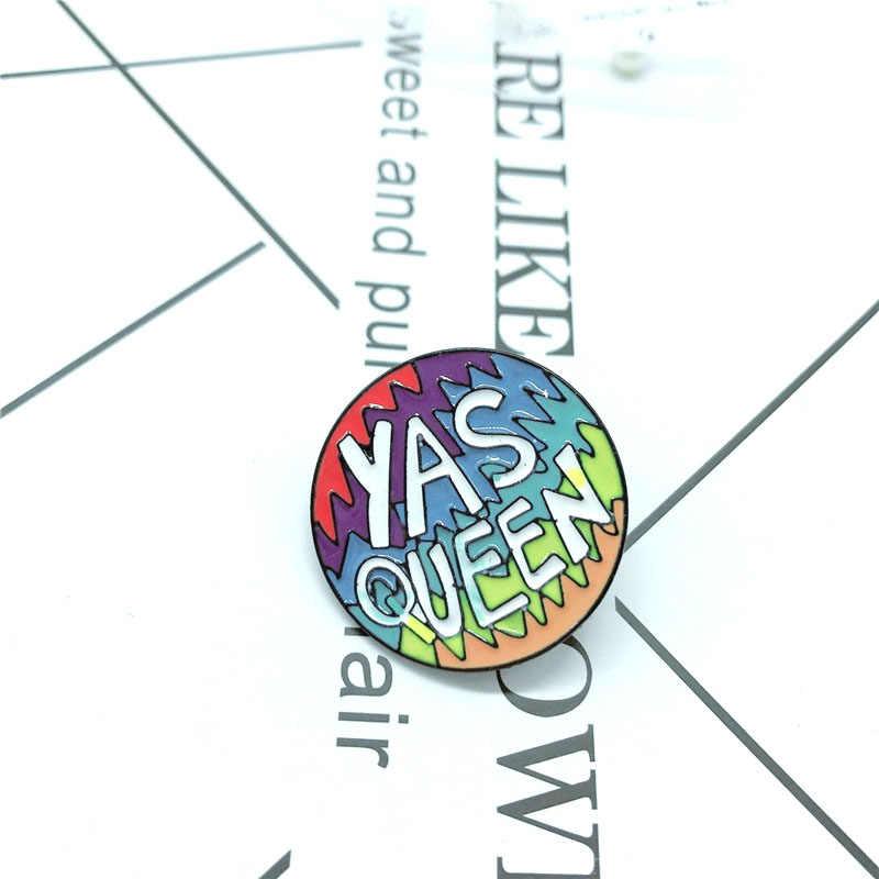การ์ตูนป้ายจดหมาย YAS QUEEN เข็มกลัดสำหรับผู้หญิงผู้ชายสายรุ้งสีสัน Pins เครื่องประดับเคลือบ Pin กระเป๋าเป้สะพายหลังกระเป๋าอุปกรณ์เสริม