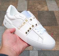 Gold Rivets Embellished Women Casual Shoes Tennis Feminine Chic Star Shoes Hot Women Sneakers Genuine Leather Off White Shoes