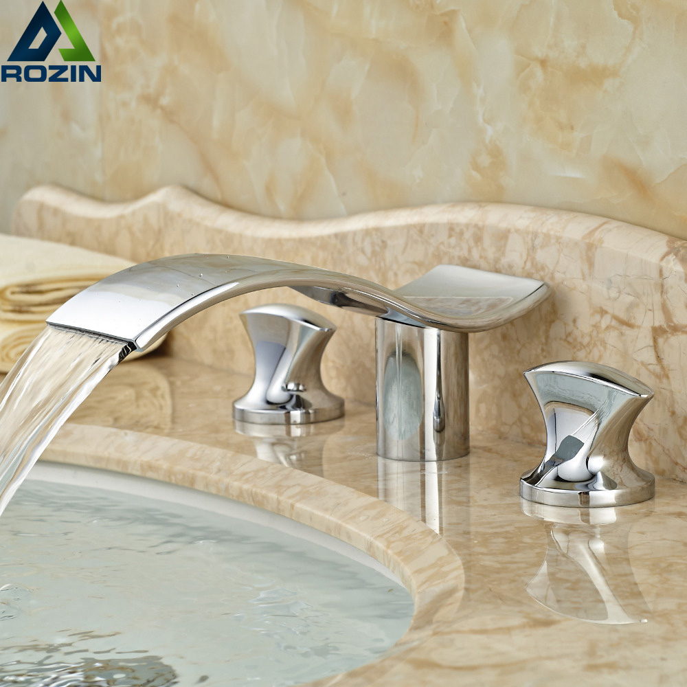 Dual Handle Luxury Bathroom Sink Faucet Chrome Finish Waterfall Basin Mixer Tap