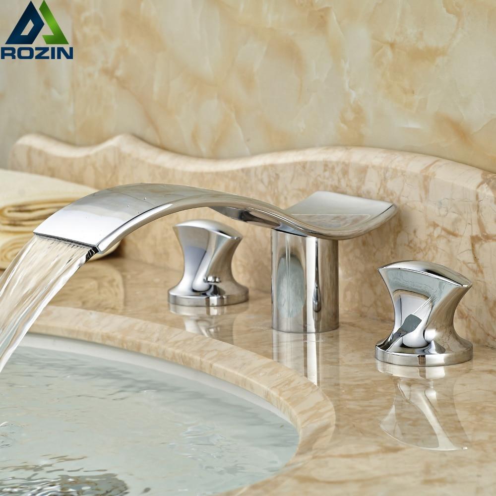 Podwójny uchwyt luksusowe łazienka umywalka kran Chrome Finish wodospad bateria umywalkowa z kranu w Baterie umywalkowe od Majsterkowanie na AliExpress - 11.11_Double 11Singles' Day 1