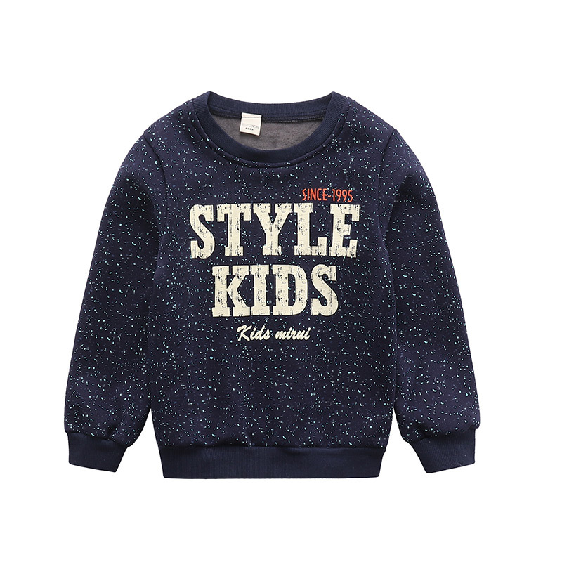 Kids Hoodies Casual Boys Winter Sweatshirt 2017 Children Fashion Splash-ink Letters Fleece Long Sleeve O-neck Bottoming Shirt