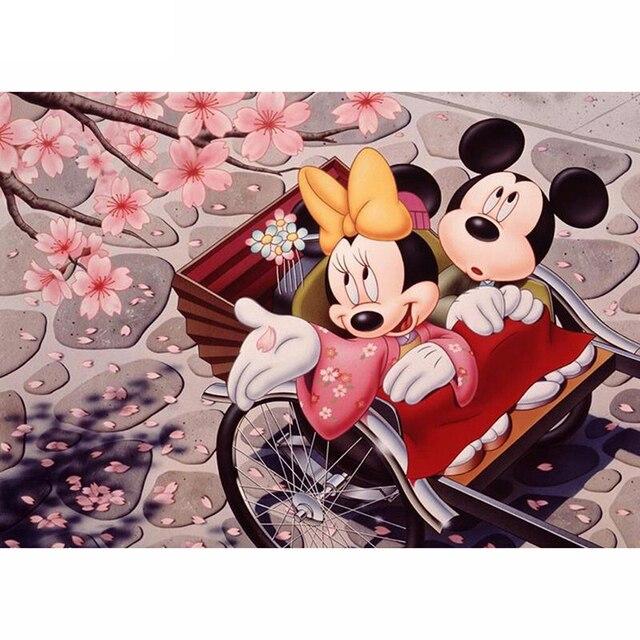 Kartun Tikus Bunga Sakura 5d Berlian Bordir Berlian Lukisan Cross