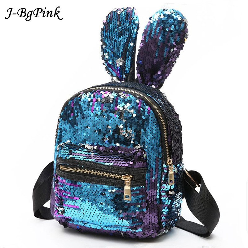 J-Bg Pink  Newest Bling Sequins Backpack Cute Big Rabbit Ears Double Shoulder Bag Women Mini Backpack Children Girls Travel Bag 2017 new fashionable cute soft black grey pink beige solid color rabbit ears bow knot turban hat hijab caps women gifts