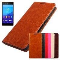 Factory Price For Sony Xperia M4 Aqua Z4 Z3 Plus E6553 Genuine Cowhide Leather Flip Case