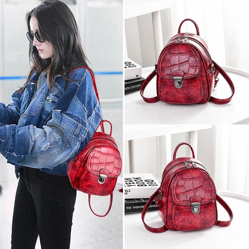 24f9373483c US $19.9 40% OFF pu leather bag backpack female black women's backpacks for  girls mini back pack fashion small backpack women cute shoulder bags-in ...