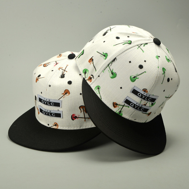 guitar pattern male trucker hat men baseball cap sport snapback golf chapeau polo hat brim straight Bone