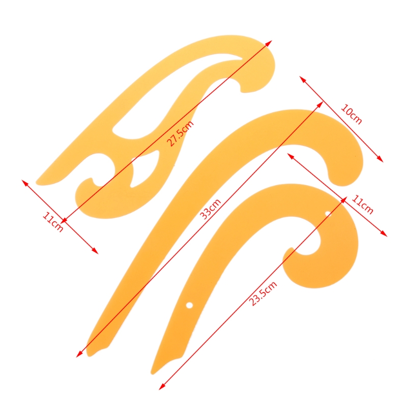 Set Of 3 Plastic French Curves Drafting Drawing Ellipse Templates Sewing Ruler