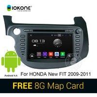 IOKONE Android 4.4 Araba DVD CD Video Oynatıcı Honda Yeni Fit 2009 2010 2011 Stereo GPS Navi ile Vedio Bluetooth Dokunmatik ekran